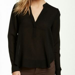 Vince Split Neck 2 Button Blouse Shirt Top